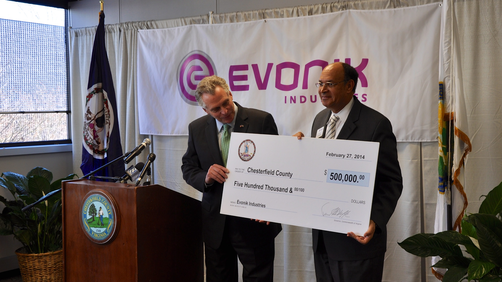 Governor McAuliffe Announces Evonik Industries to Invest $15
